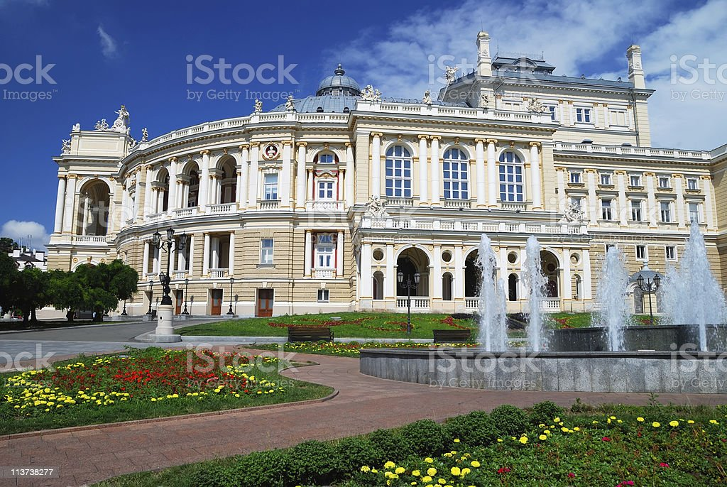 Summers day at the Public Opera theater in Odessa, Ukraine stock photo