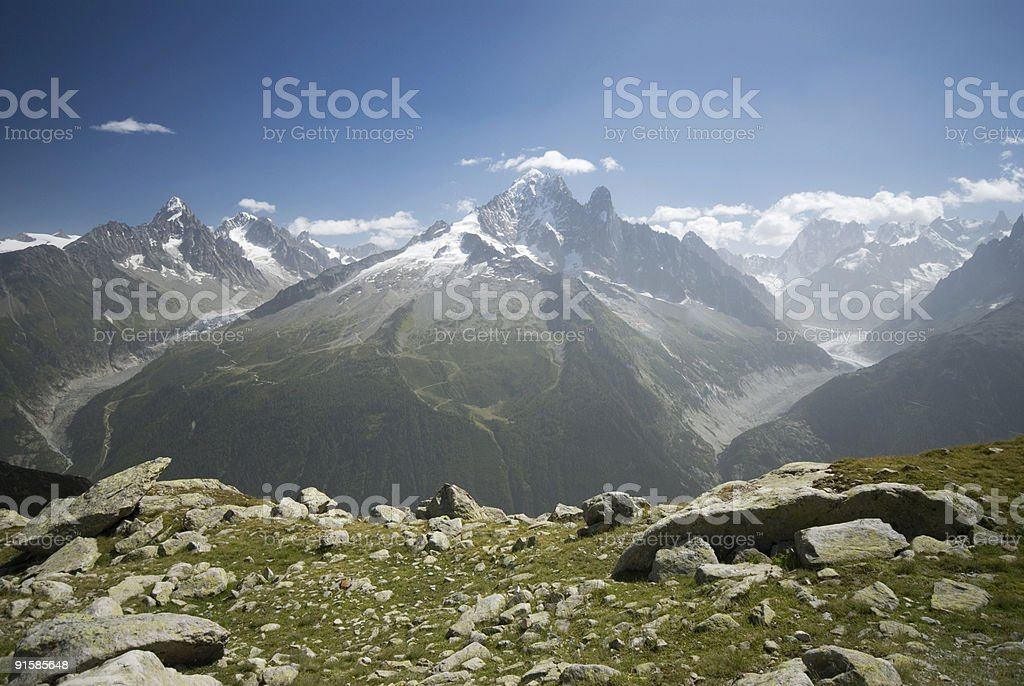 Summer's view of the Grands Montets glacier royalty-free stock photo