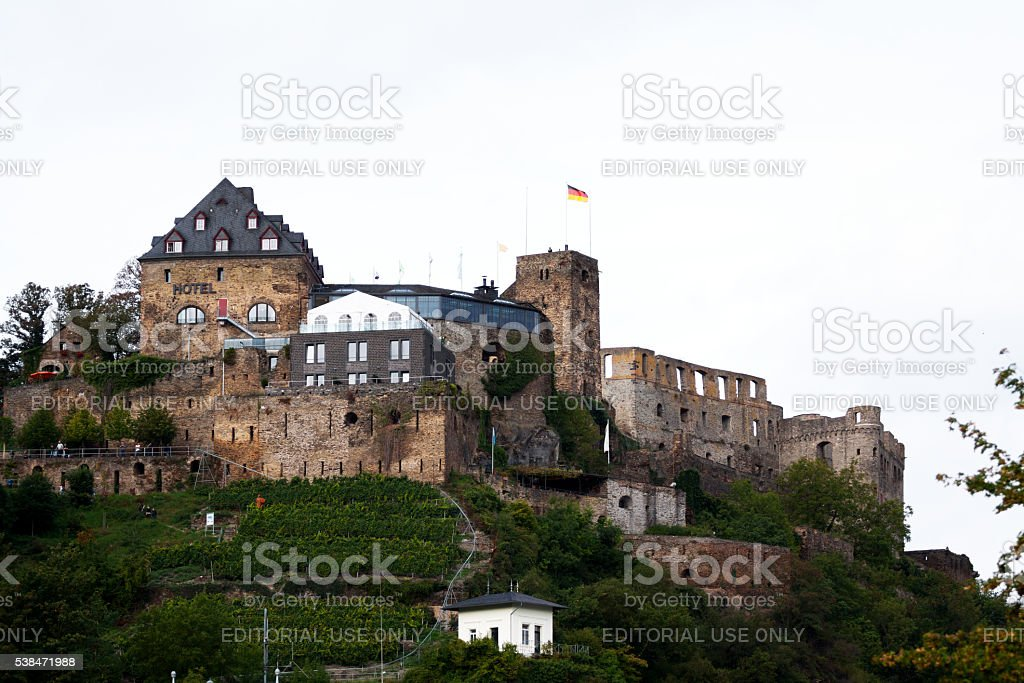 Summershot of castle Rheinfels stock photo