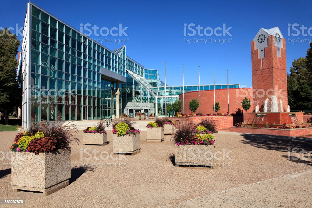 Summertime Afternoon Medicine Hat City Hall stock photo