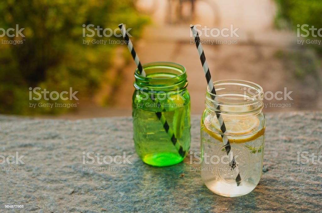 Summertime drinks beautiful sunny shot royalty-free stock photo