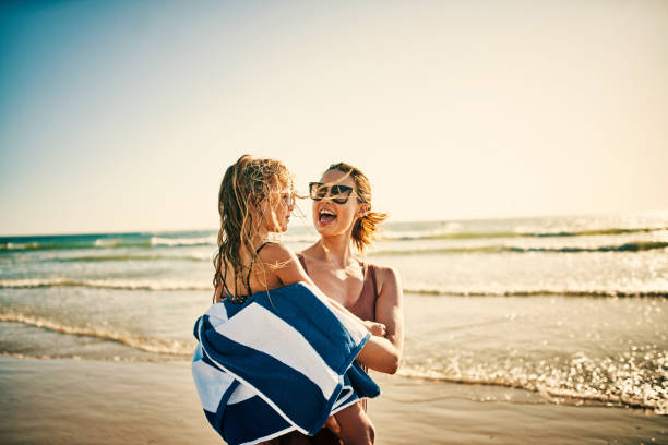 Summertime means lots of fun family memories stock photo
