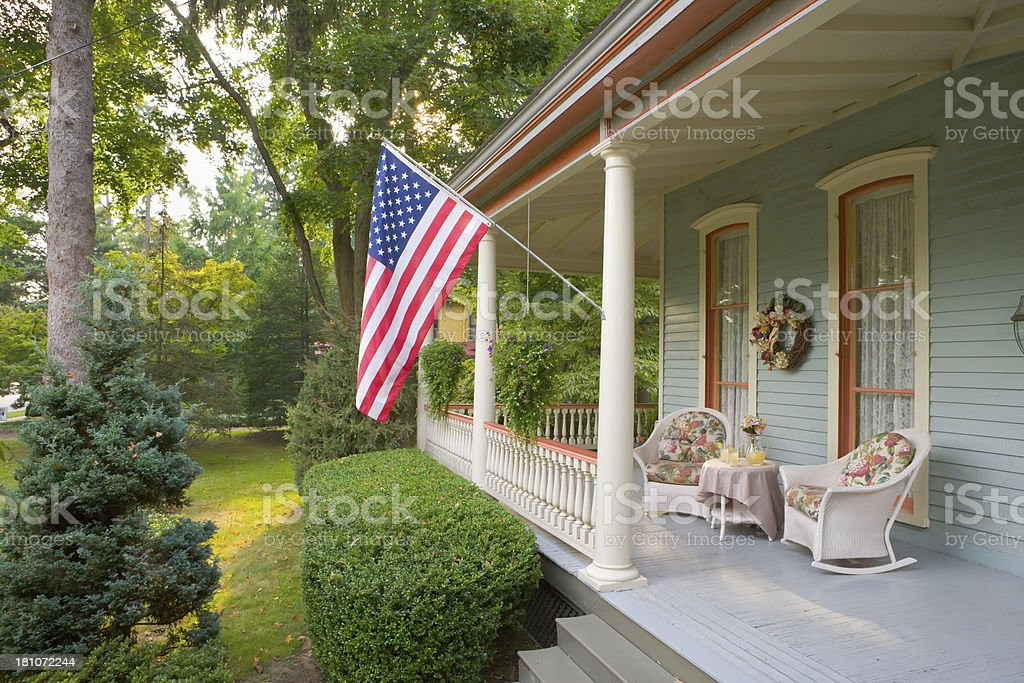 Summertime on a Victorian porch stock photo