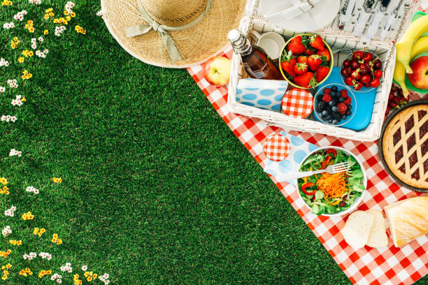 Summertime picnic Summertime picnic setting on the grass with open picnic basket, fruit, salad and cherry pie picnic stock pictures, royalty-free photos & images