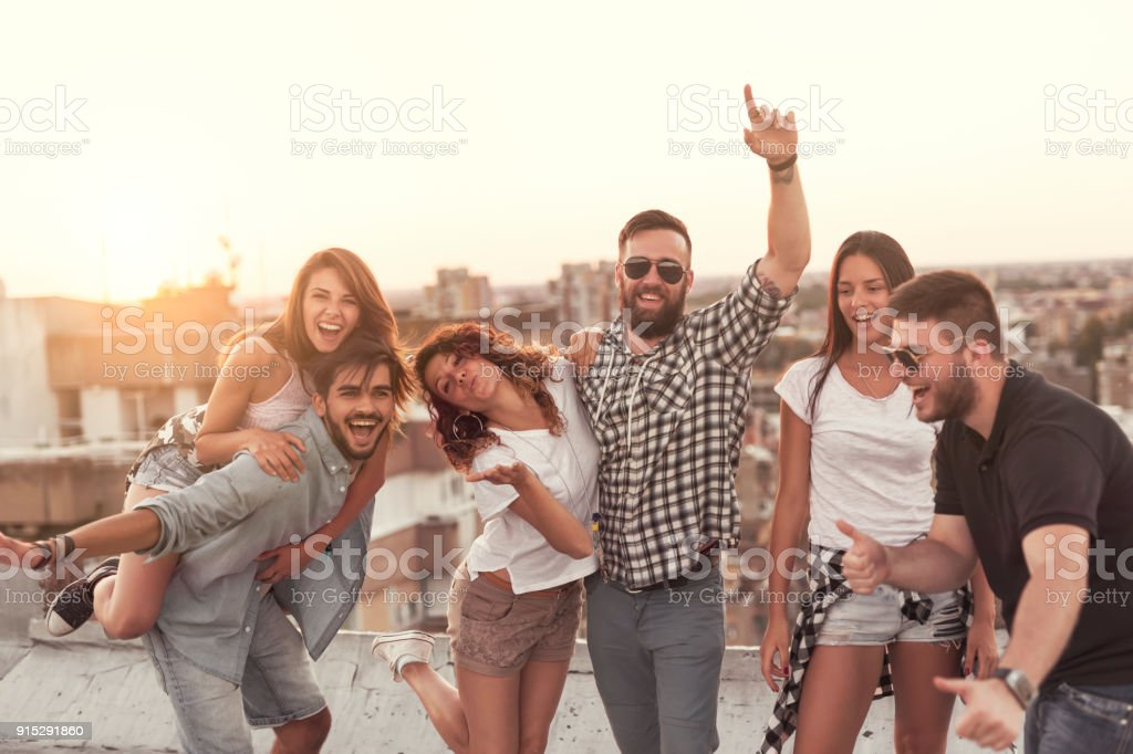 Summertime rooftop party stock photo