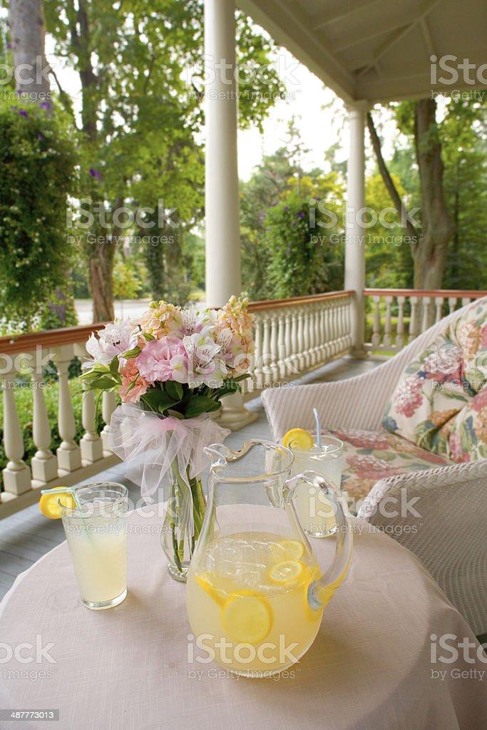 Summertime Victorian Porch stock photo