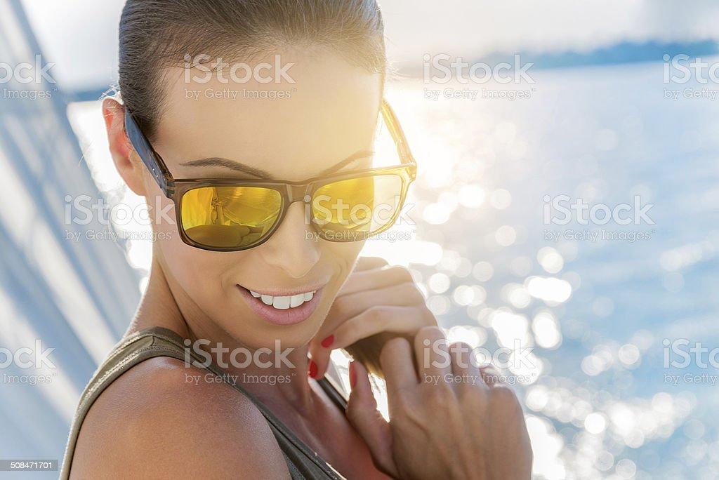 Summertime yachting stock photo