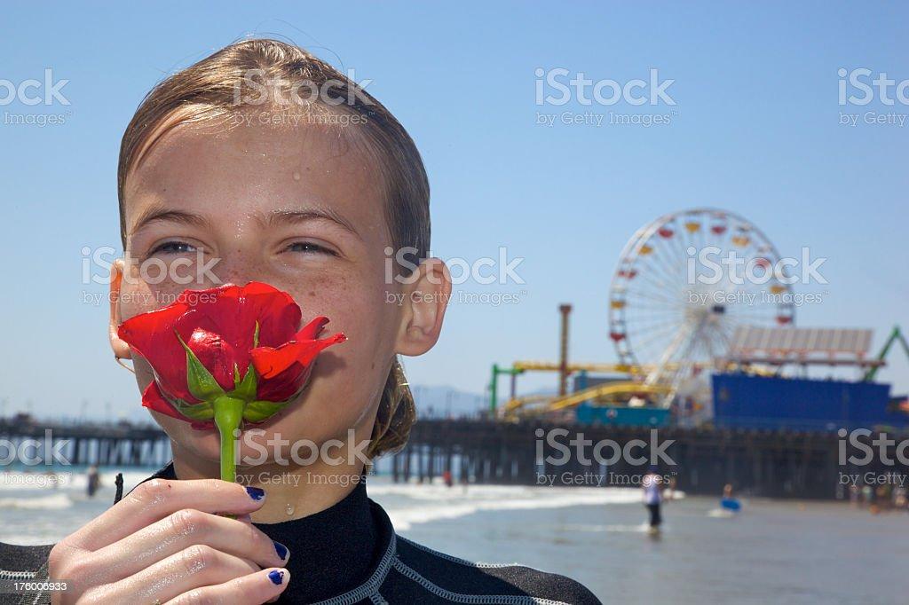 Summertine Smile at Santa Monica Beach royalty-free stock photo