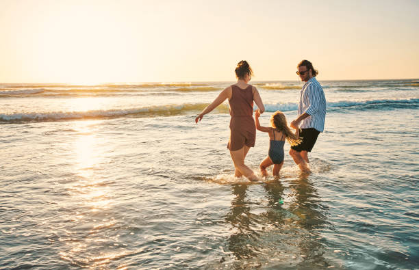 Summery fun with their little one stock photo