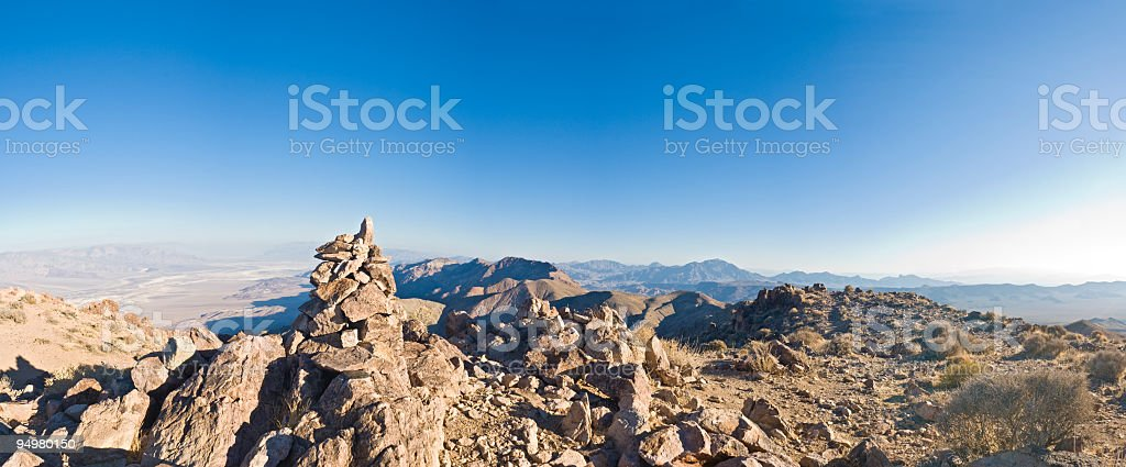Summit cairn panoramic vista royalty-free stock photo