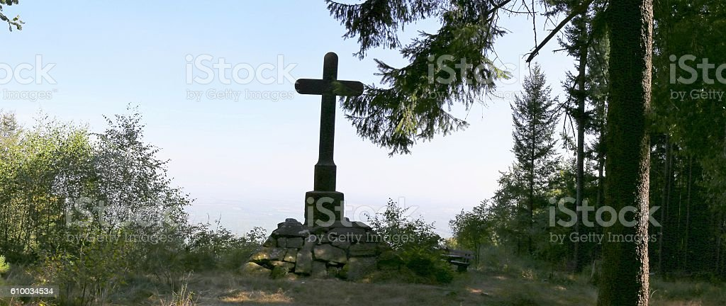 Summit cross in the Palatinate forest, Germany stock photo