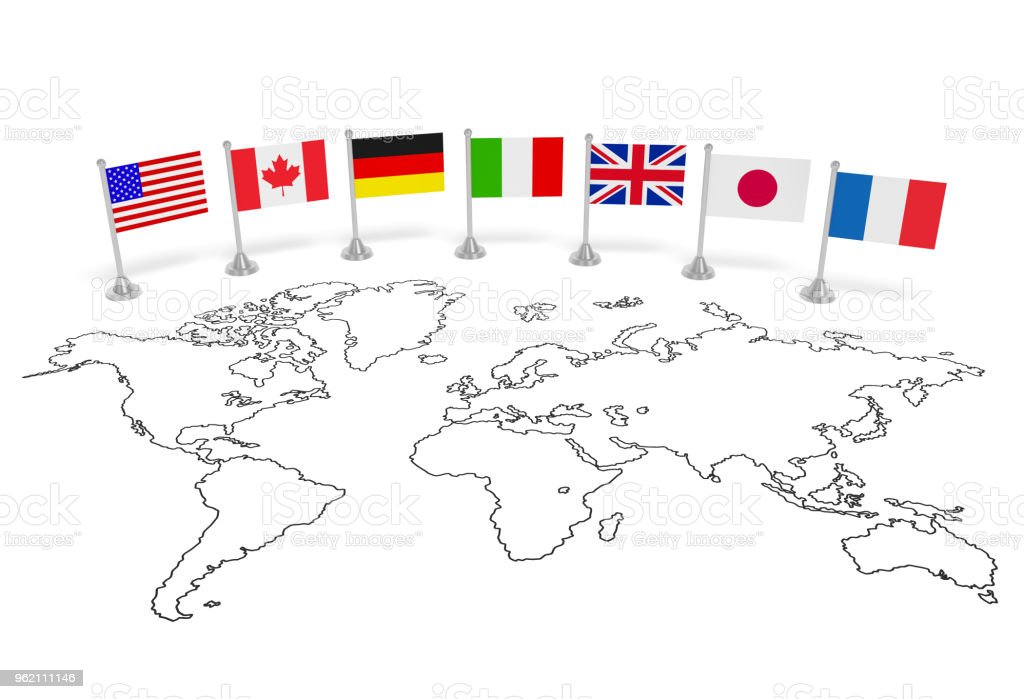 G7 Summit Flags Of Seven Member Countries On The World Map