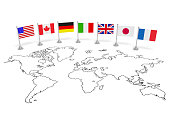 G7 summit (economic political concept). Flags of seven member countries on the world map. Usa, Canada, Germany, Italy, Great Britain, Japan, France as partners of meeting. 3d illustration