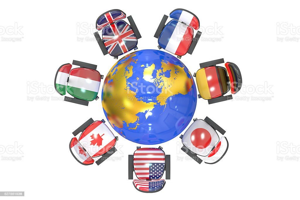 G7 Summit Group of 7 concept, 3D rendering stock photo