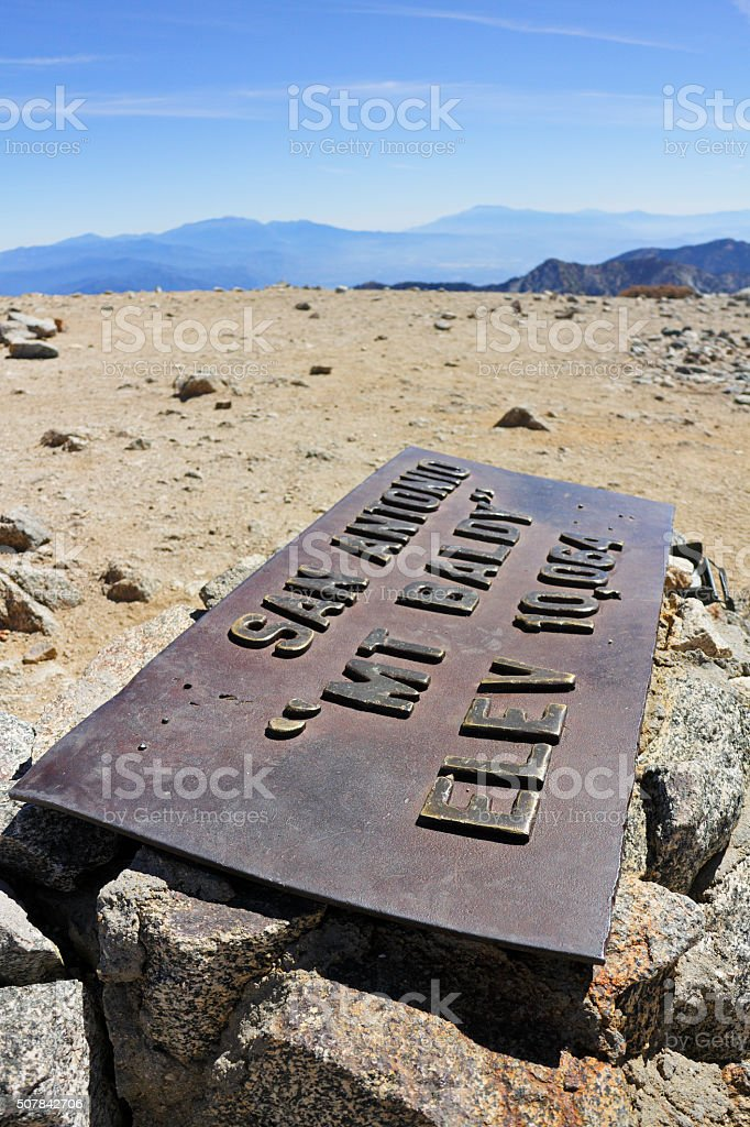 Summit Marker - Mount Baldy stock photo