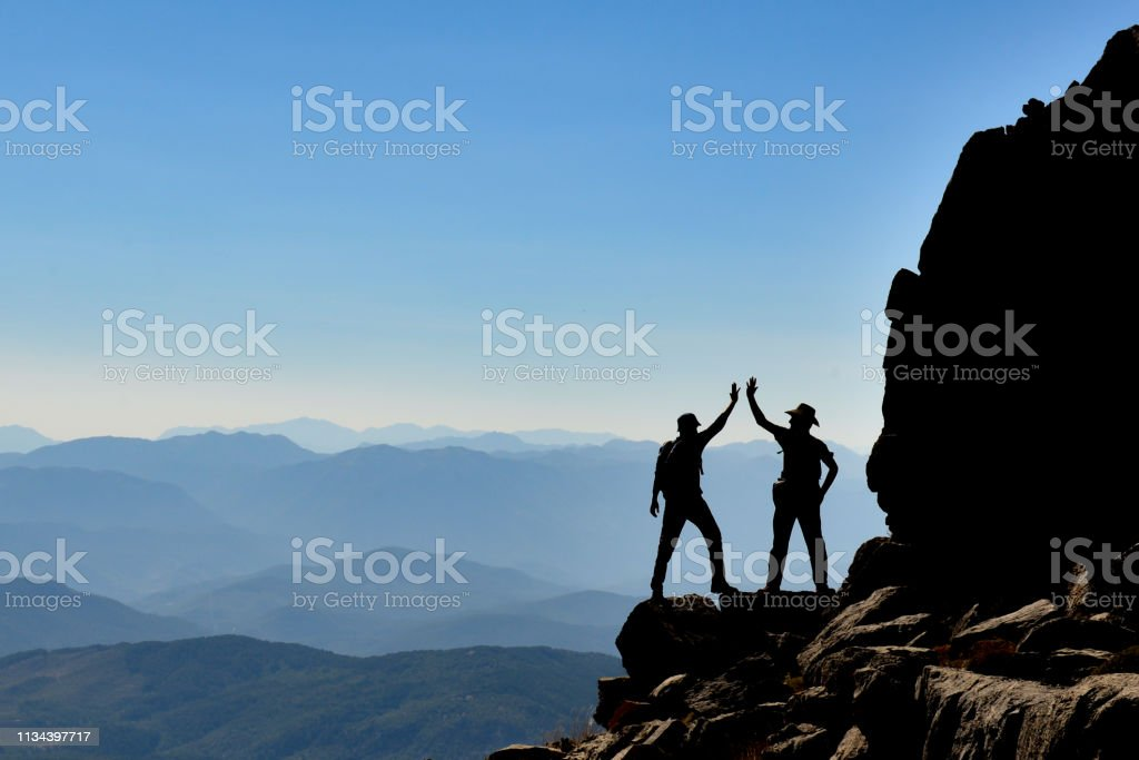 summit mountains, amazing landscape and success concept stock photo