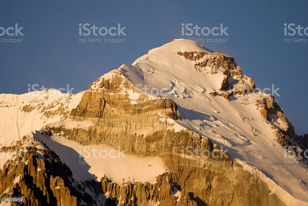 Summit of Aconcagua in warm morning light. royalty-free stock photo