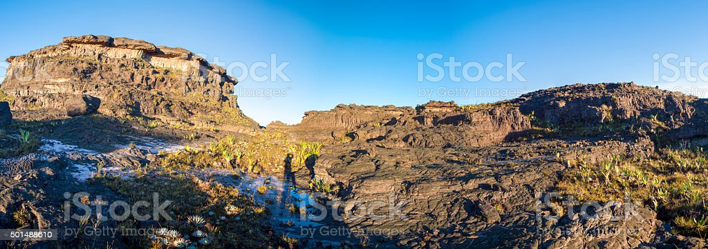 Panorama at the top of Mount Roraima in the morning with blue sky....