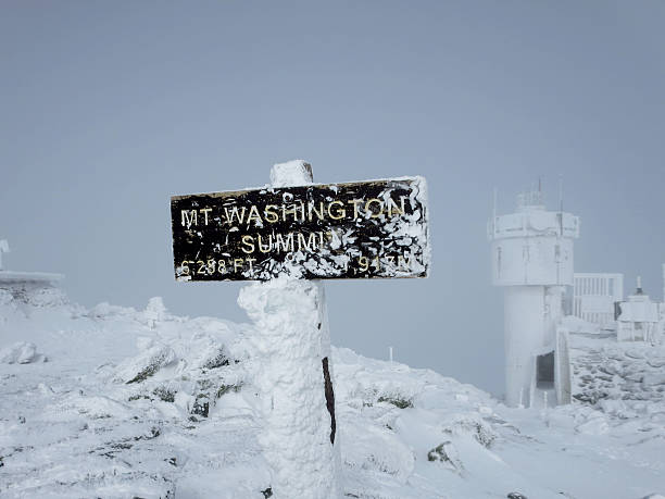 Summit of Mount Washington, New Hampshire, USA The summit of Mount Washington in New Hampshire (USA). Mt. Washington is the highest peak in the Northeastern U.S. at 6,288 ft and the most prominent mountain east of the Mississippi River. The mountain is famous for dangerously erratic weather. mount washington new hampshire stock pictures, royalty-free photos & images