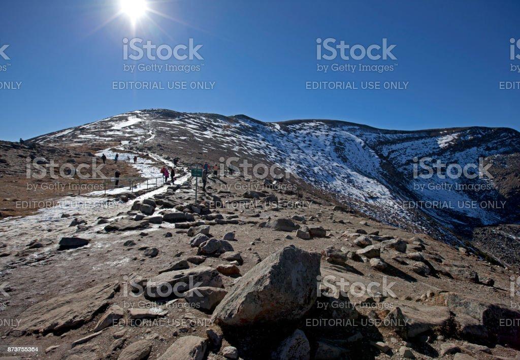summit of pyramid mountain stock photo