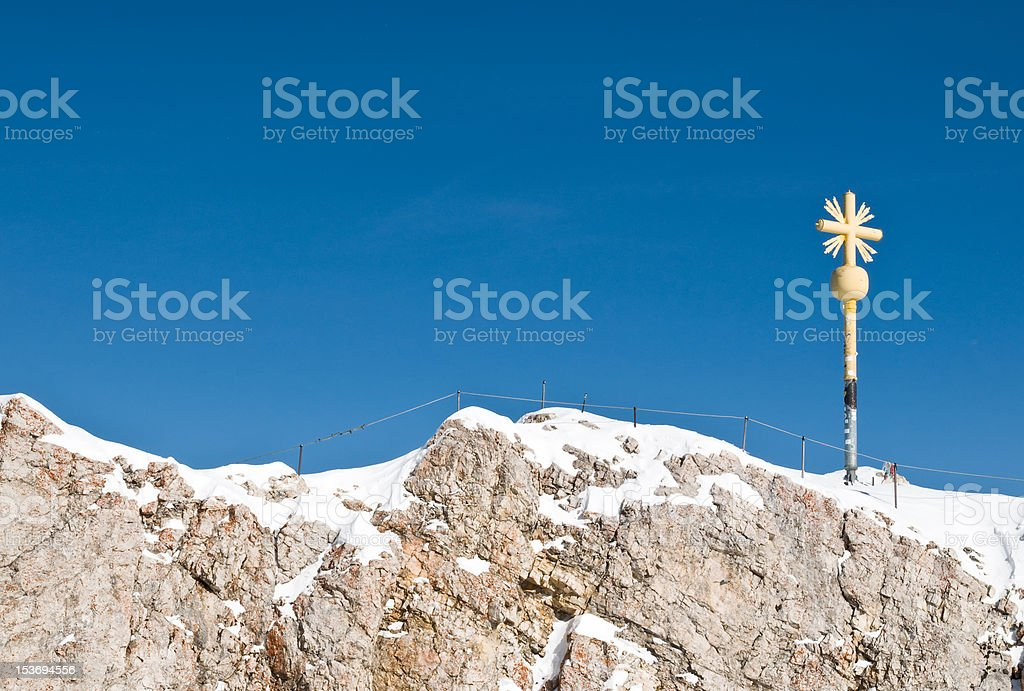 Summit of the Zugspitze Mountain in Germany royalty-free stock photo