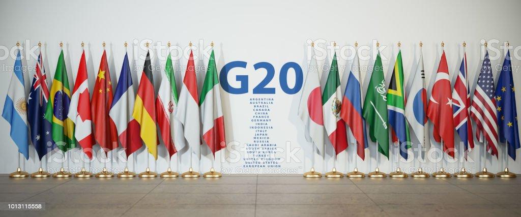 G20 cumbre o reunión de concepto. Fila de banderas de los miembros del G20 grupo de los veinte y lista de países, - foto de stock