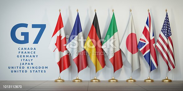 istock G7 summit or meeting concept. Row from flags of members of G7 group of seven and list of countries, 1013112670