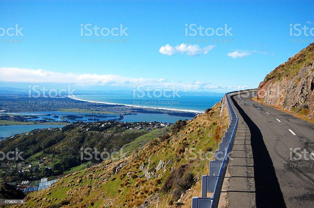Summit road near Christchurch stock photo