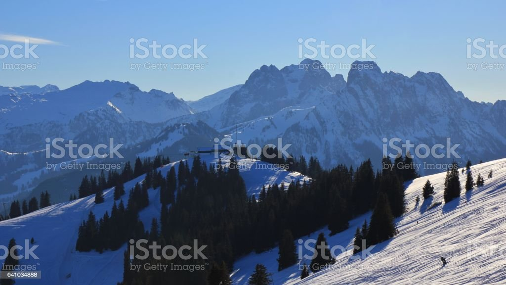 Summit station of the Rellerli ski area stock photo