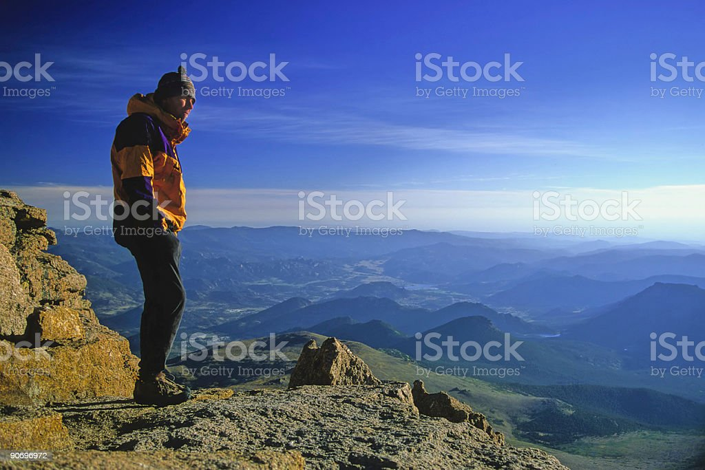 summit sunrise witness stock photo
