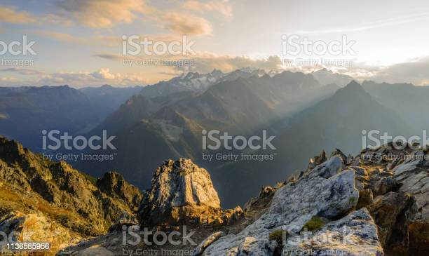 Photo of Summit sunset in the Swiss alps