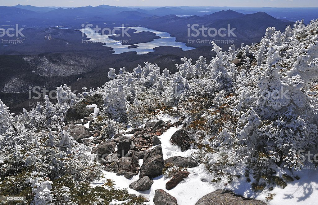 Summit view from Whiteface Mountain, Adirondacks, New York stock photo