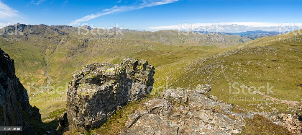 Summits, valleys and hiking trail royalty-free stock photo