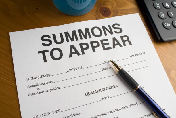 Summons to appear in court stock photo