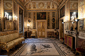 Richly decorated interiors that contain paintings, sculptures and furniture of great value