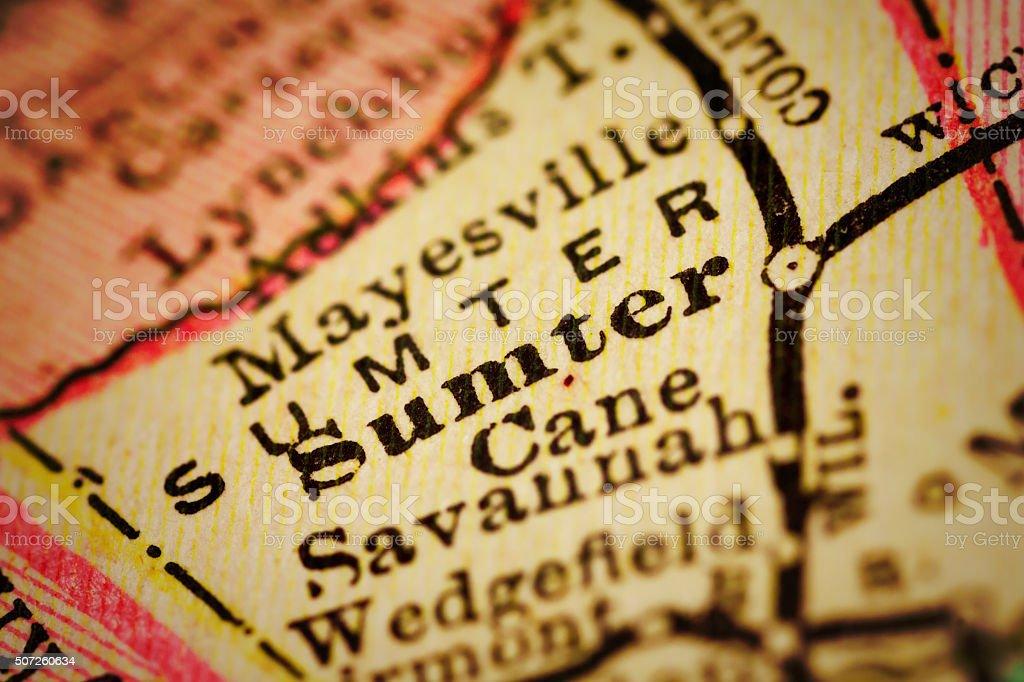 Sumter, South Carolina on an Antique map stock photo