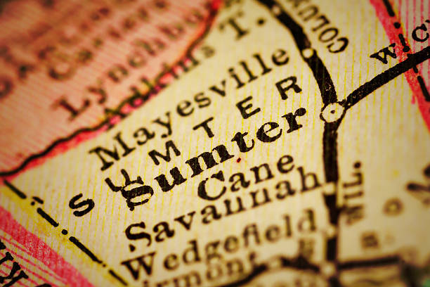 sumter, south carolina on an antique map - charleston sc map stock photos and pictures