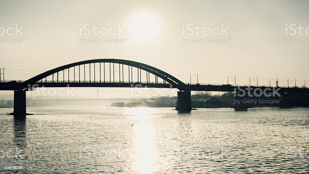 Sun above the bridge stock photo