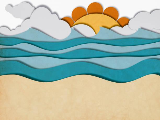 sun and beach, paper cutting style - fumetto creazione artistica foto e immagini stock