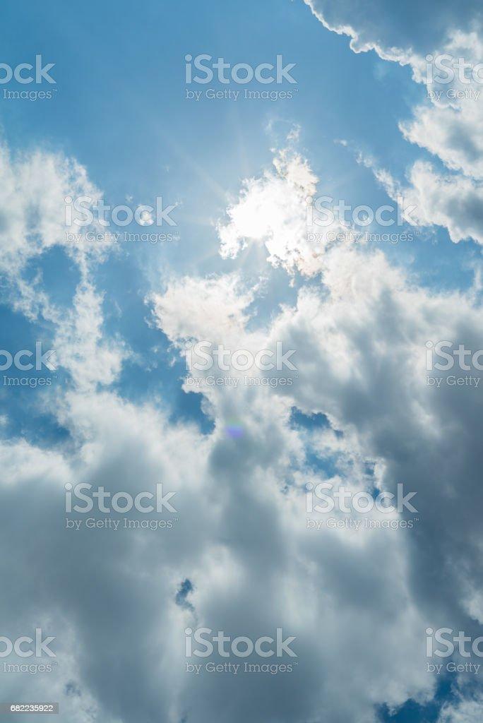 Sun and blue sky stock photo