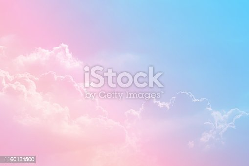istock Sun and cloud background with a pastel colored 1160134500