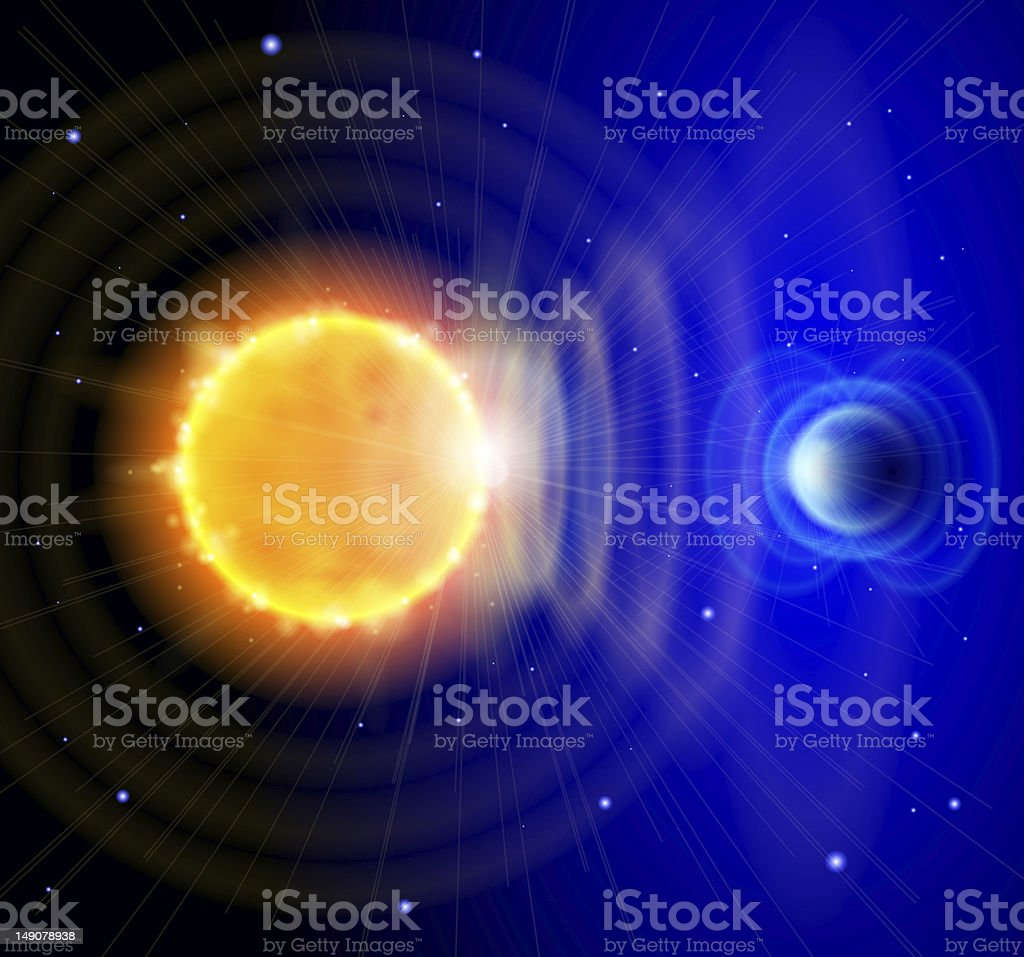 Sun and Earth in the depths of space stock photo