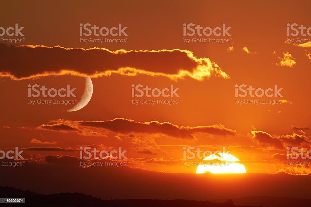 Sun and Moon stock photo