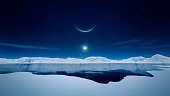 An image of the sun and the moon in polar region