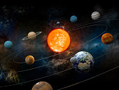 """""""Solar system model with sun at the center, nine planets and moon orbiting. High resolution 3D render.Opacity and bump textures for the earth and other planets map prepared via tracing images from www.nasa.gov.Earth texture:http://veimages.gsfc.nasa.gov/2431/land_ocean_ice_cloud_2048.jpg"""""""