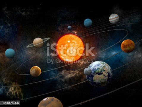 istock Sun and nine planets orbiting 184326000