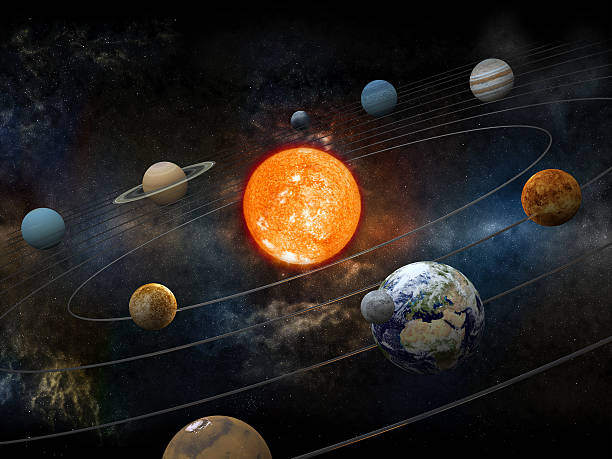 Sun and nine planets orbiting stock photo