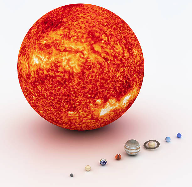 Sun and other planets really small compared to the sun stock photo