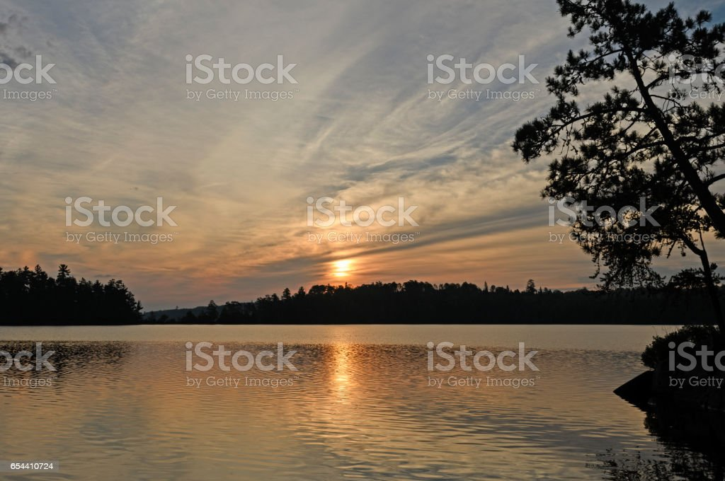 Sun and Silhouettes in Canoe Country stock photo