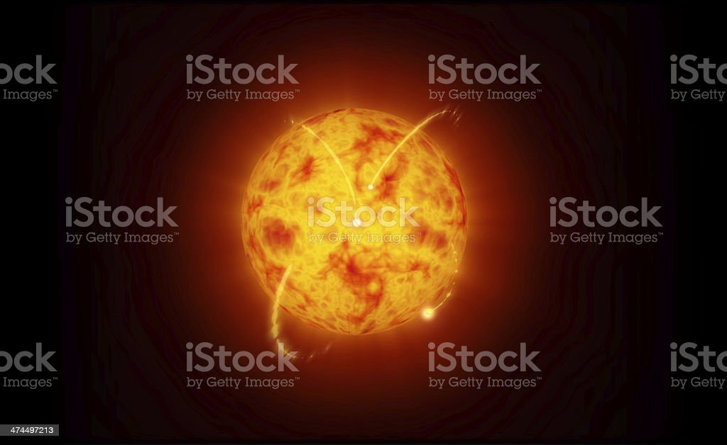Sun and solar eruptions model stock photo